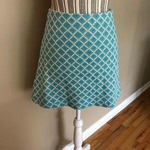 Zara Turquiose  & White Knit A Line Short Skirt M